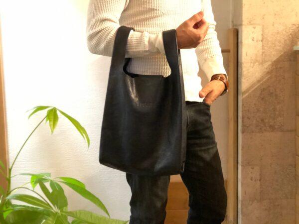 レザーで作ったレジ袋バッグ